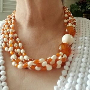 Jewelry - Vintage Butterscotch Amber & Ivory Lucite Torsade